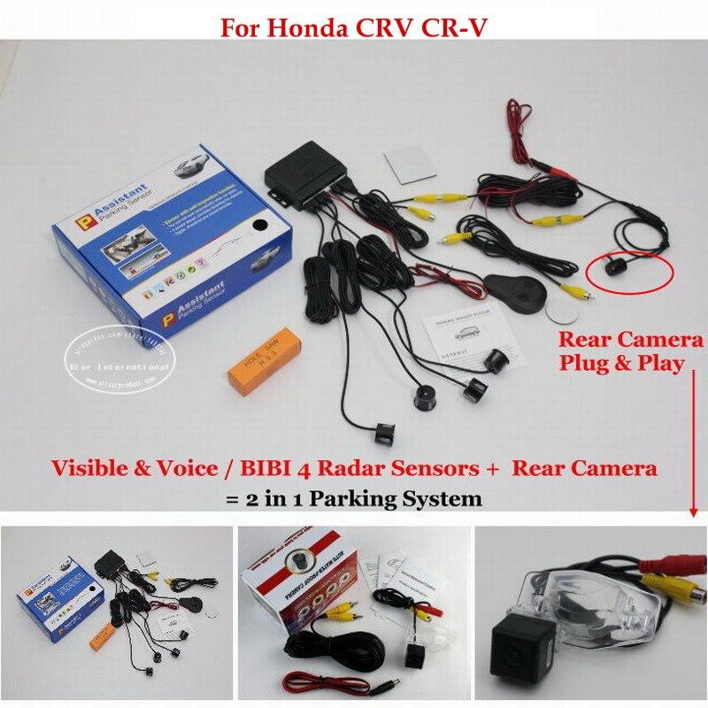 For Honda CRV CR-V - Car Parking Sensors + Rear View Back Up Camera = 2 in 1 Visual / BIBI Alarm Parking System for citroen berlingo saxo xsara car parking sensors rear view camera 2 in 1 visual bibi alarm parking system