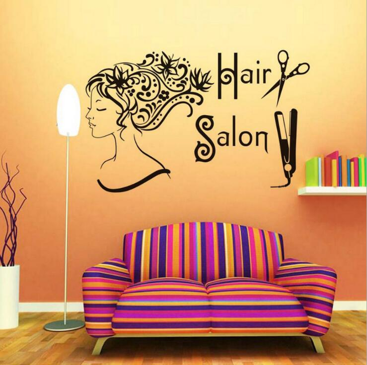 Flower Women Head Hair Salon Wall Stickers Beauty Salons Vinyl Wall Decals