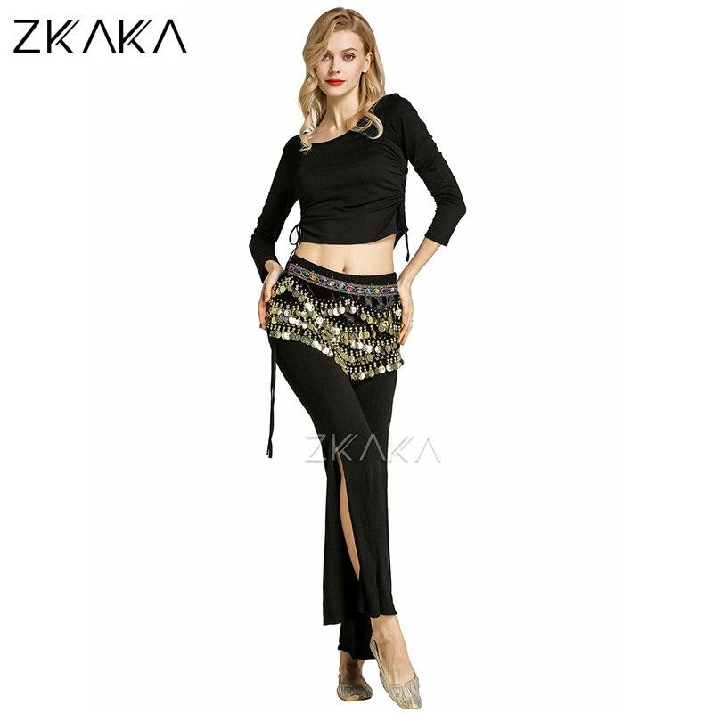 ZKAKA Ladies Belly Dance Costume(Top,Pants,Belt)