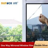"SUNICE Silver Window Tint Vinyl Film Reflective Effect Window Stciker One Way Vision Privacy Film 90cm x 1000cm(35""x393"") Window Foils     -"