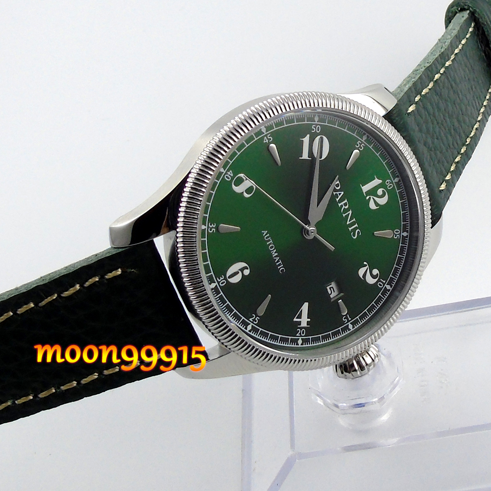 42mm Parnis green dial Sapphire Glass 21 jewels miyota Automatic mens Watch цена и фото