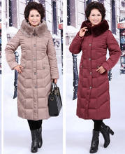 New Winter Middle-Aged Women Long Thick  Jacket Plus Size Madarin Collar Over-The-Knee Length White Duck  Coat 5XL H3206