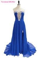 Specjalny Styl Niebieski Sukienka dla Prom Night Elegant Sweetheart Zroszony Szyfonu Piętro Długość Boku Szczelina Balu Togi