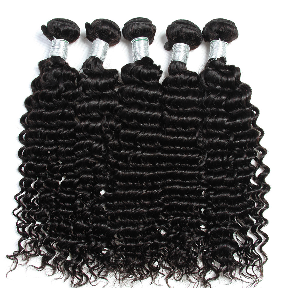 Alibele Malaysian Deep Curly Weave 3 Bundles Deal Natural Color Remy Hair Extensions Human Hair Weave