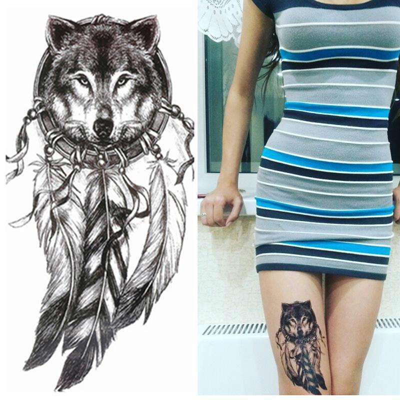 Wolf Temporary Tattoo Stickers Waterproof Women Fake Hand Animal DIY Wolf Head Tattoos Adult Body