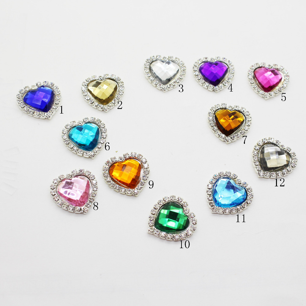 10pcs Mixed Color Metal Buckle Heart Rhinesdtone Buttons Wedding ...