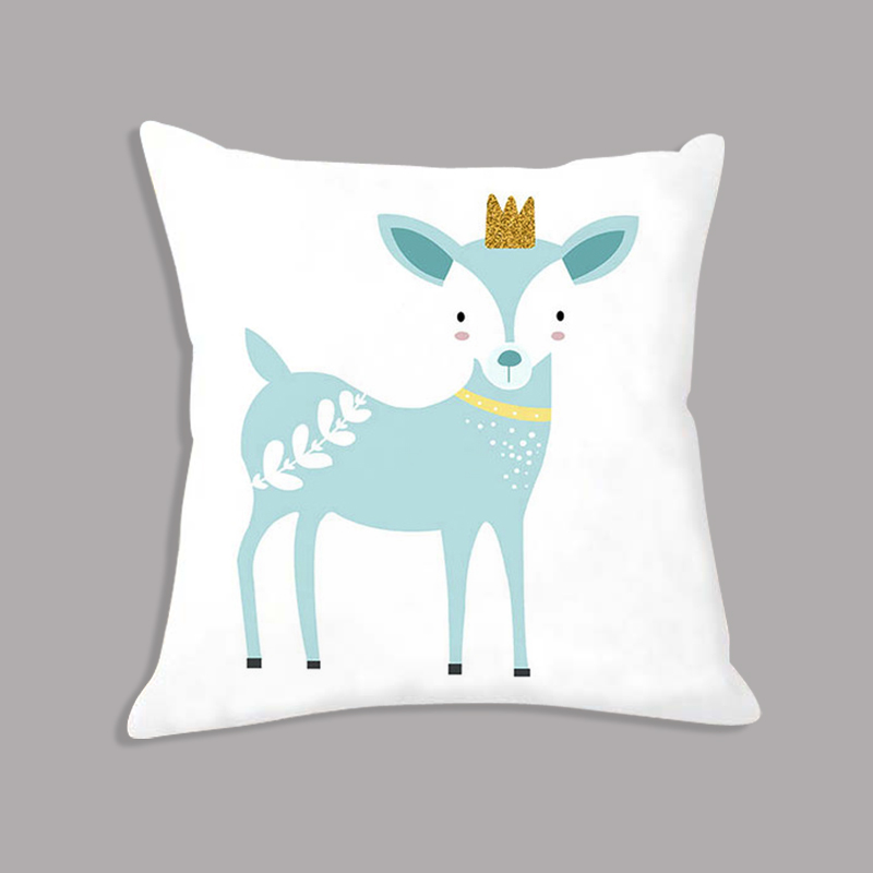 Cartoon Deer Rabbit Printed Throw Pillow Seat Cushion White Nordic Decorative Cushion For Sofa Bed Kids Gift Party Decoration