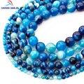 CAMDOE DANLEN cuentas de piedra Natural azul rayas ágatas ónix redondo cuentas sueltas 4 6 8 10 12 14mm ajuste fabricación de joyas de cuentas de espacio Diy