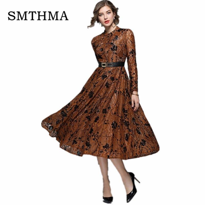 SMTHMA 2019 Spring Elegant hollow out lace dress Women vintage long sleeve slim Long dress Sexy  party dress vestidos
