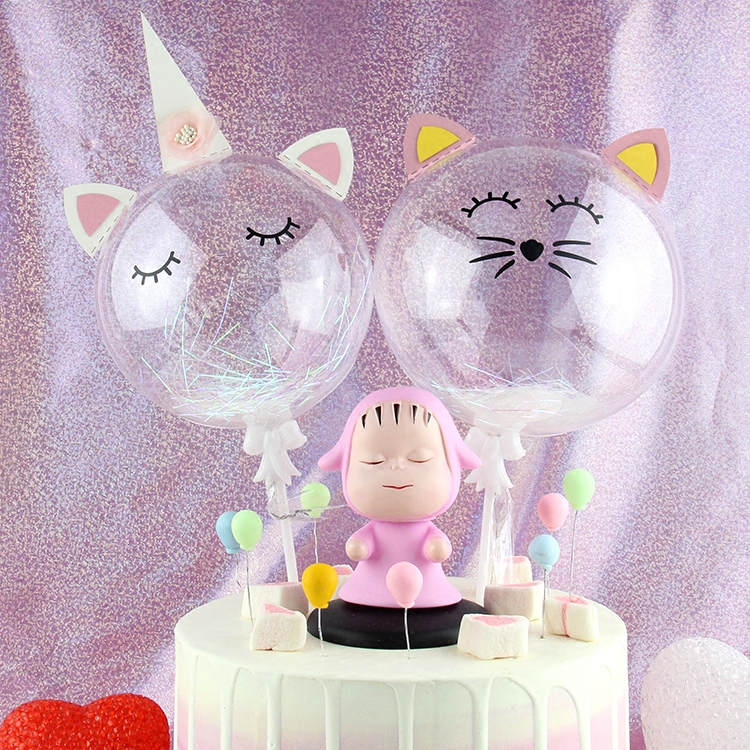 Transparent Balloon Unicorn Cake Topper Horn Happy Birthday Cake Decoration Party Favors Cat Cake Topper Unicorn Cupcake Topper in Cake Decorating Supplies from Home Garden