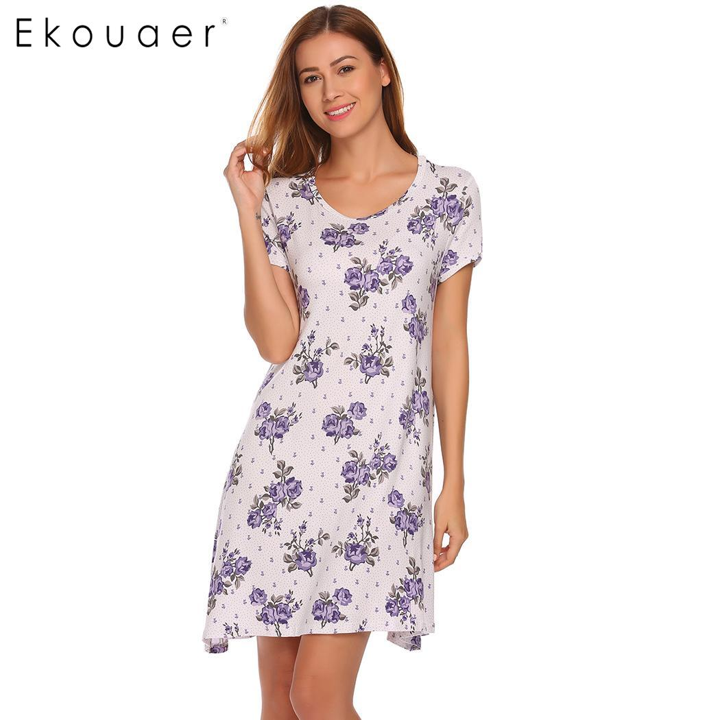 Ekouaer Women Nighties   Nightgowns     Sleepshirt   Casual O-Neck Short Sleeve Floral Loose Mini Sleepwear Dress Lounge Home Nightdress