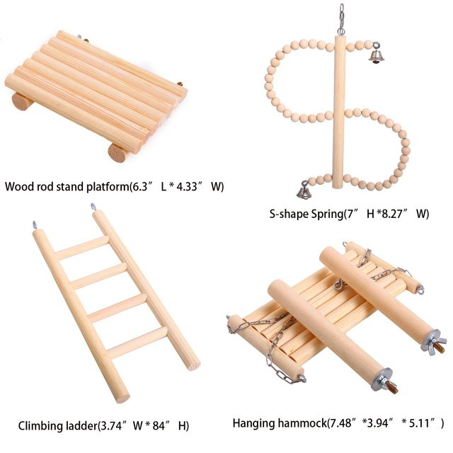 Natural Wood Bird Toys SetPlaced in The Bird Cage by Playground for Small and Medium Parrots Parakeet  Hamster Cage Pack of 4pcs 2