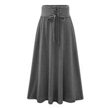 Women Skirt  2016 Spring And Summer Women's High Waist Pleated Long Skirts Casual Drawstring Long Maxi Skirts