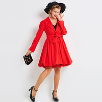 Sisjuly Women S Vintage Dress 2017 New Autumn Winter Solid Red Full Sleeve Turn Down Collar