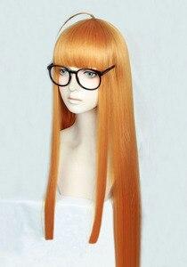 Image 3 - Perruque de Costume de Cosplay, perruque + piste + capuchon, lisse et longue de 100cm, P5 Persona5 Futaba Sakura, Orange résistante à la chaleur