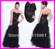 Sexy Black Lace Sweetheart Tulle Ruffles Mermaid Evening Dress Gown E2864