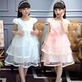 2016 лето рукавов дети свадьба невесты платья принцессы кружева девушка церемония ну вечеринку носить девочки-подростки одежда