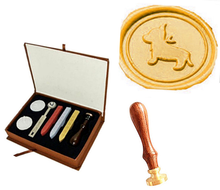 Lovely Dog Picture Logo Wedding Invitation Sticks Spoon Gift Box Set Kit Wax Seal Sealing Stamp