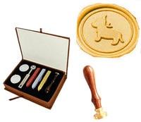 Lovely Dog Picture Logo Wedding Invitation Wax Seal Sealing Stamp Sticks Spoon Gift Box Set Kit