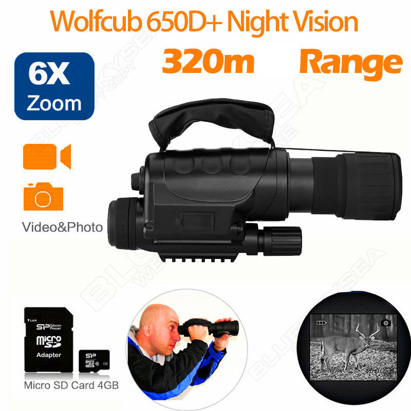 Wolfcub NV-650D+ Infrared Night Vision IR Monocular Telescope Scope Recorder DVR yunok sentinel 2 5x50 night vision riflescopes generation 1 infrared illuminator monocular hunting rifle scope tube based