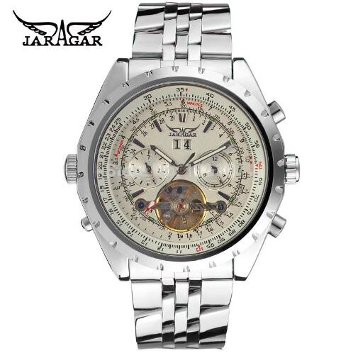 Jaragar marke luxus herrenuhren drehbare lünette tourbillion automatische mechanische herrenuhr relogio männlich horloges