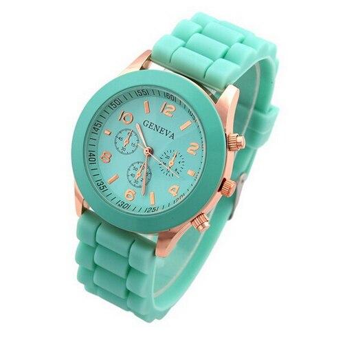 High Quality Geneva Brand Rose Gold Silicone Watches Women Ladies Men Dress Quartz Wristwatch Hour Relojes Mujer GV008