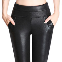 Winter Velvet Warm Fashion Sexy Slim Women PU Leather Leggings Skinny Pants Plus Size 40 100KG
