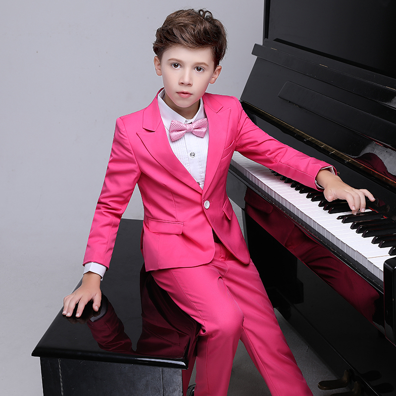 High quality boy formal suit single buckle solid new school pink kids wedding suit jogging terno menino clothing garconHigh quality boy formal suit single buckle solid new school pink kids wedding suit jogging terno menino clothing garcon
