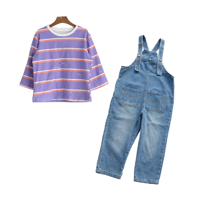 купить Overall Set Girls T-shirt Denim Pants 3-15Y Spring Kids Striped T-shirt +Denim Overalls Pants Girl Clothing Set Tracksuit CA212 по цене 2371.75 рублей