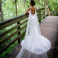 Hochzeit Cape Braut Schal Weiß Elfenbein Tüll Lange Cape Mantel Schal shrugs chaquetas de fiesta mujer