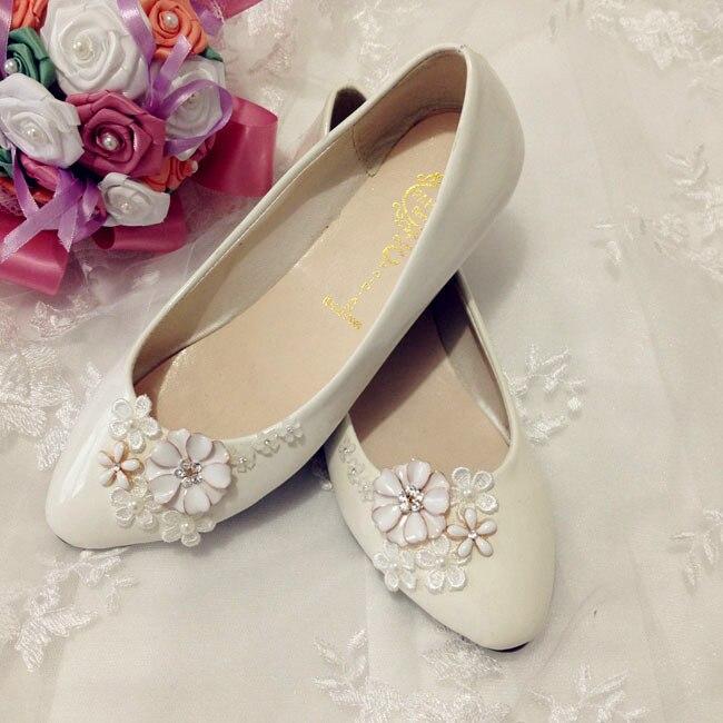ФОТО White crystal the bride wedding shoes lace flower bridesmaid shoes flat handmade formal flats dress wedding flats shoes