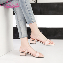 2019 Med Heels Women Sandals Shoes Two Wearing Way Slipper Brand Designer Summer Fashion Casual For Nysiani