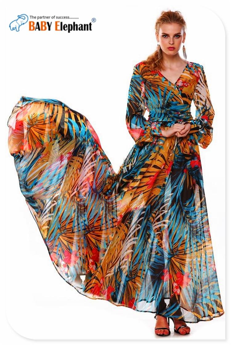 ac21ac43a2a Great Tropical Print Chiffon Long sleeved Dress Deep V Large Size Summer Dress  Chiffon Dress Beach Long Dress XS   XXL on Aliexpress.com