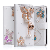 11 Styles Luxury Handmade Stand Flip Leather Diamond Bowknot Flower Wallet Case For Apple Iphone 5C