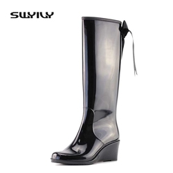 2017 Tall Boots Fashion Bow-knot Anti-slip Water Shoes 36-40 Plus Size Outdoor Waterproof Women Sweet Style Rain Boots Hot Sale