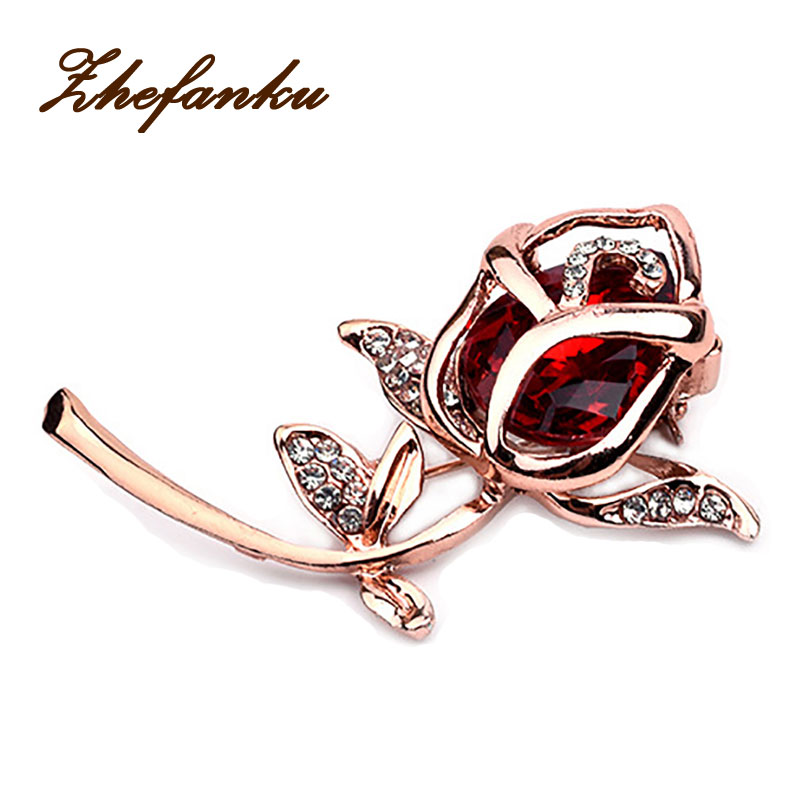 ac85e94c0 Crystal Rose Flower Brooch Pin Rhinestone Alloy Rose Gold Brooches Birthday  Gift Garment Accessories(China