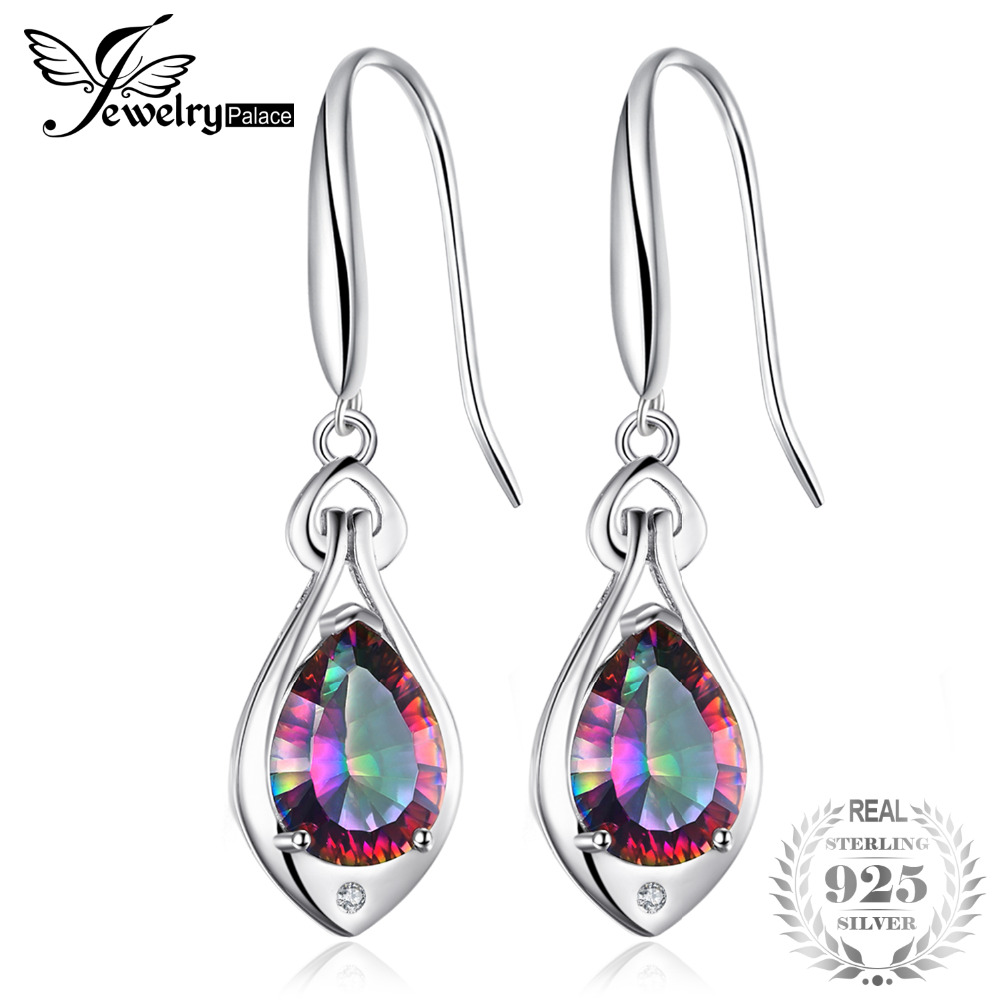 Jewelrypalace Water Drop 6.8ct Genuine Rainbow Fire Mystic Topaz Dangle Earrings Pure 925 Sterling Silver Fine Jewelry For WomenJewelrypalace Water Drop 6.8ct Genuine Rainbow Fire Mystic Topaz Dangle Earrings Pure 925 Sterling Silver Fine Jewelry For Women