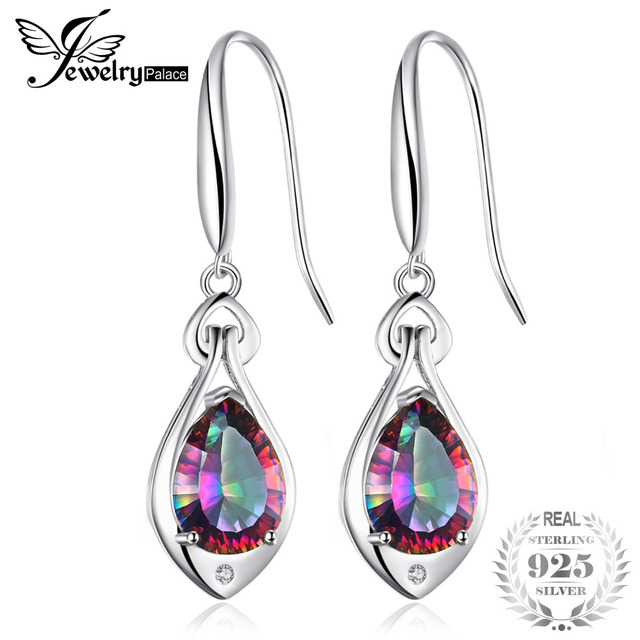2eaae3c20 Jewelrypalace Water Drop 6.8ct Genuine Rainbow Fire Mystic Topaz Dangle  Earrings Pure 925 Sterling Silver