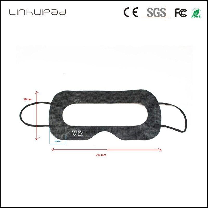 Linhuipad de 3D VR máscara de ojo de vidrio sanitario oídos correas desechables negro higiene máscara 100 unids/lote