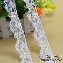 3cm white cotton lace embroid sewing ribbon guipure lace african lace fabric trim warp knitting DIY Garment Accessories#2889