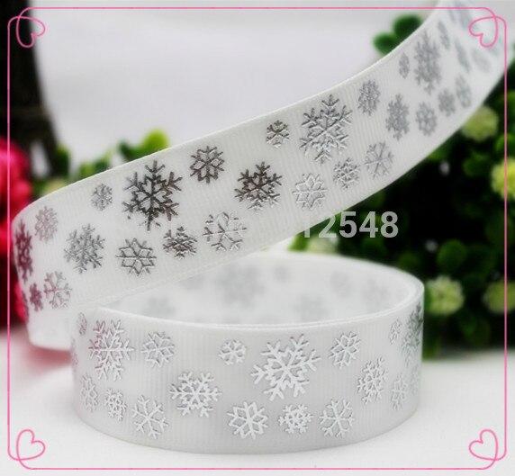 1410821,7/8 »22 мм рождественские снежинки серебряные Горячая печатных полушерстяной лентой, DIY материалы ручной работы, головные уборы аксессуары