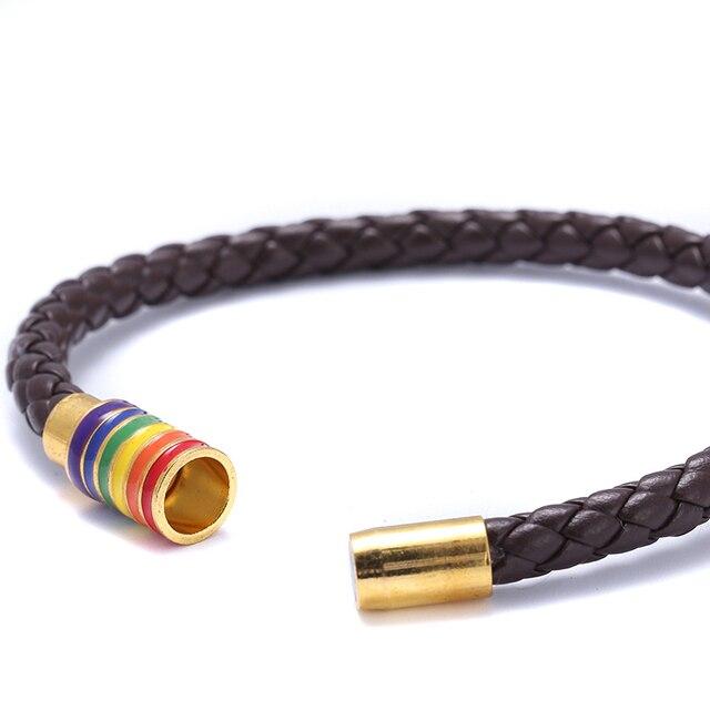 Itenice 2018 New Black Brown Genuine Braided Leather Bracelet Women Men Stainless Steel Gay Pride Rainbow Magnetic Bracelet Gift 5
