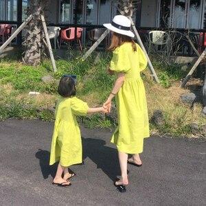 Image 3 - Baby Princess Dress Girls Dress Kids Summer Dress 2020 New Cotton Lantern Sleeve Mother and Me Cute Dress Retro V neck,#5266