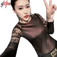 Blusas Femininas Shirts Women Blouses 2018 Women Tops Lace Patchwork Blouse Bright Silk Rivet Super Stretch