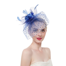 New Fascinator Headwear Elegant Fashion Hair Accessories Fancy Feather Pins Cocktail Party Clips Bridal for Girl