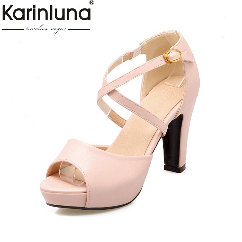KARINLUNA New Big Size 33-43 High Heels Women Shoes Sexy Platform Peep Toe Buckle Strap Woman Wedding Sandals brand new women platform sandals t strap rivets high heels wedding shoes woman peep toe gladiator women luxury big size shoes