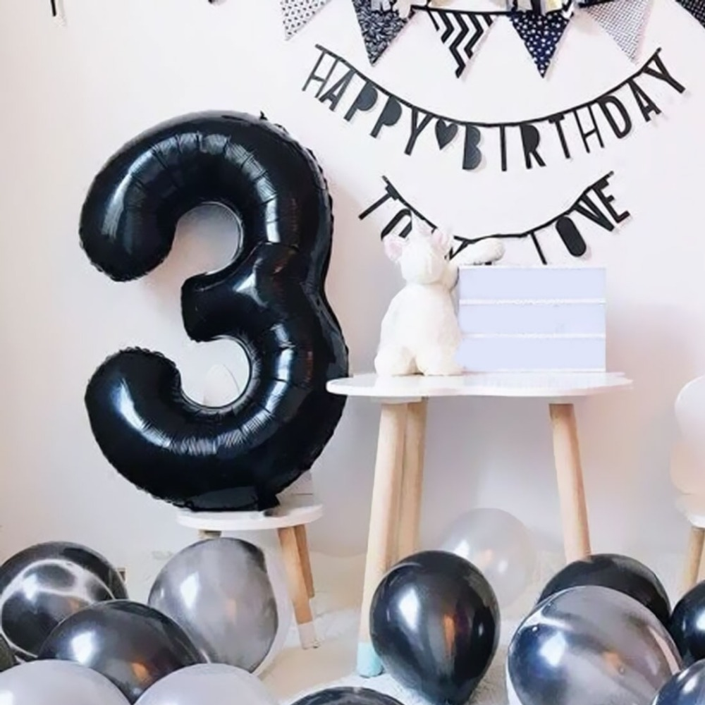 16&32'' Black Number Balloon foil balloons 0 1 2 3 4 5 6 7 8 9 Black Birthday Anniversary celebration Baby Shower party balloons image