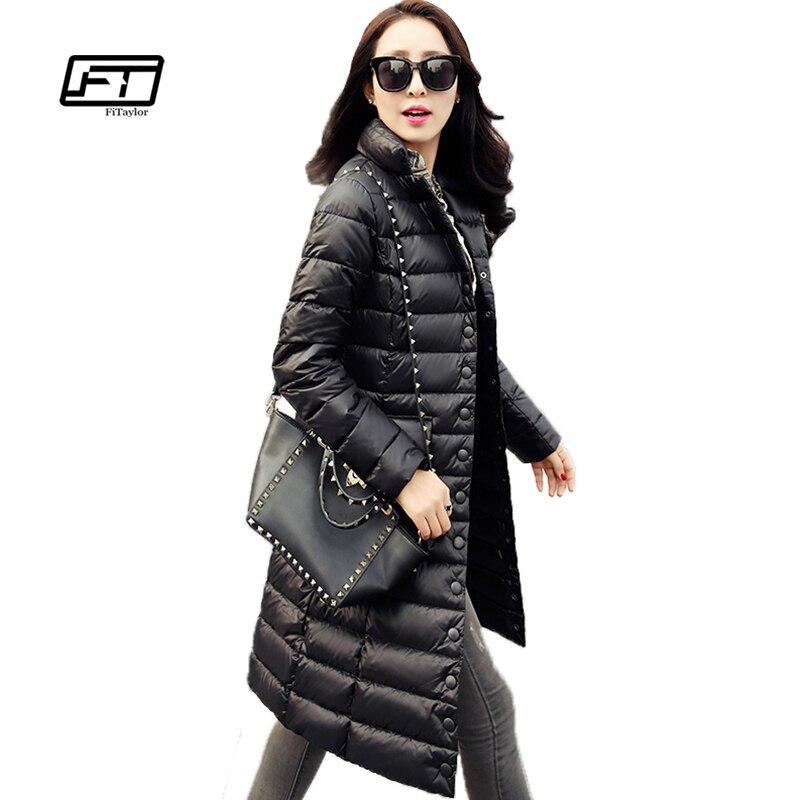 Fitaylor новые зимние женские куртки 90% Белые парки с гусиным пухом ультра легкий пуховик повседневное теплые зимние пальто
