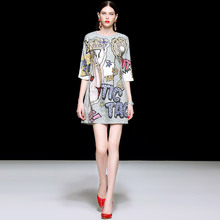 Banulin New Fashion Runway Summer Mini Dress Womens Short Sleeve Luxury Beading Diamond Printed Vintage High Quality