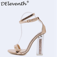 DEleventh Summer Shoes Woman 2018 Gladiator Sandals Transparent Heels Shoes Pumps Clear Heel Party Dress Shoes